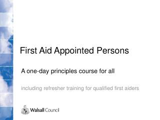 First Aid Appointed Persons