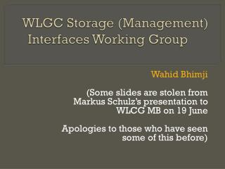 WLGC Storage (Management) Interfaces Working Group