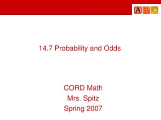 14.7 Probability and Odds