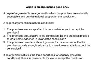 When is an argument a good one?