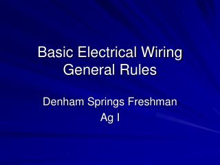 Basic Electrical Wiring General Rules