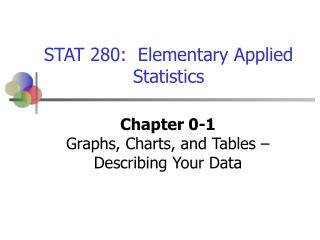 Chapter 0-1 Graphs, Charts, and Tables � Describing Your Data