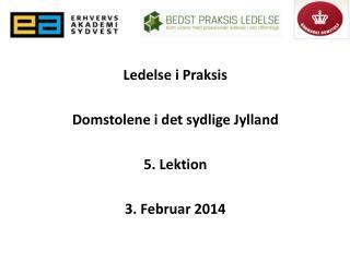 Ledelse i Praksis Domstolene i det sydlige Jylland 5 .  Lektion 3.  Februar  2014