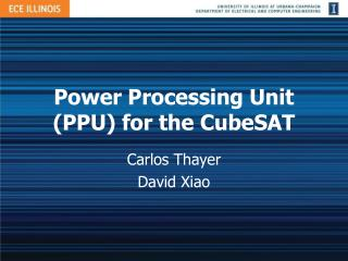 Power Processing Unit (PPU) for the CubeSAT
