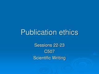 Publication ethics