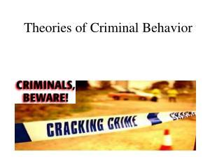 Theories of Criminal Behavior