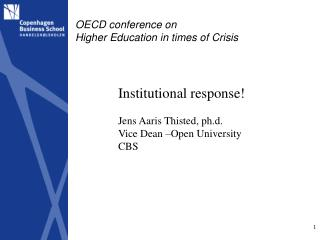OECD conference on  Higher Education in times of Crisis