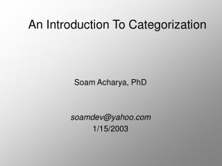 An Introduction To Categorization