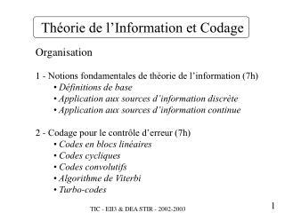 Th�orie de l�Information et Codage