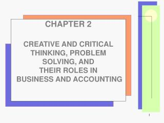 CHAPTER 2 CREATIVE AND CRITICAL THINKING, PROBLEM SOLVING, AND                    THEIR ROLES IN