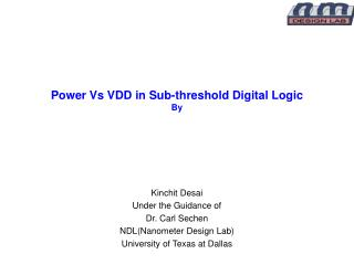 Power Vs VDD in Sub-threshold Digital Logic By
