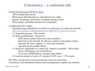 Concurrency � a cautionary tale