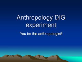 Anthropology DIG experiment