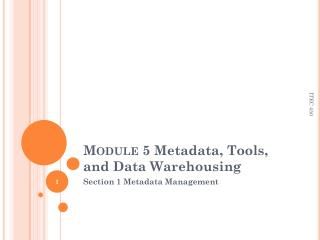 Module 5  Metadata, Tools, and Data Warehousing