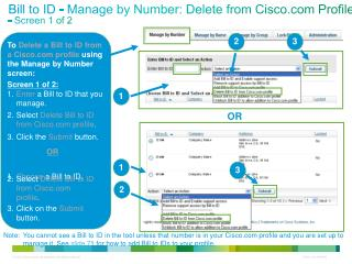 Bill to ID - Manage by Number: Delete from Cisco Profile  - Screen 1 of 2