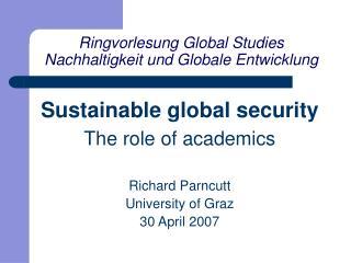 Ringvorlesung Global Studies Nachhaltigkeit und Globale Entwicklung
