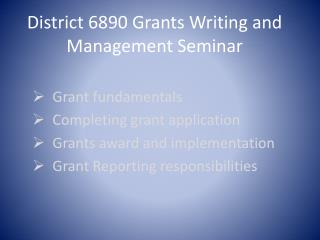 District 6890 Grants Writing and Management Seminar