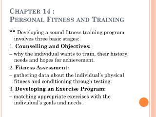 Chapter 14 :  Personal Fitness and Training