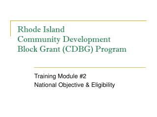 Rhode Island Community Development Block Grant (CDBG) Program
