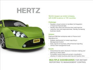 World's largest car rental company, with 8,000 locations in 150 countries. Challenges