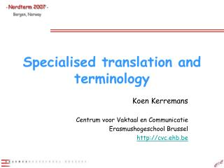 Specialised translation and terminology