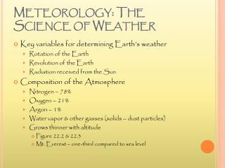 Meteorology: The Science of Weather