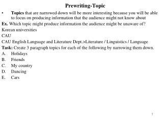 Prewriting-Topic