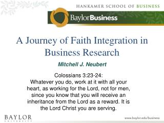 A Journey of Faith Integration in Business Research