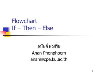 Flowchart If  –  Then  –  Else
