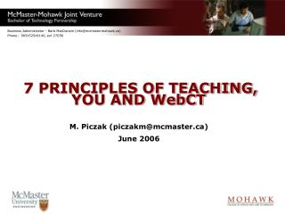 7 PRINCIPLES OF TEACHING,  YOU AND WebCT