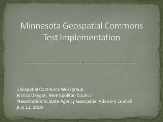 Minnesota Geospatial Commons Test Implementation