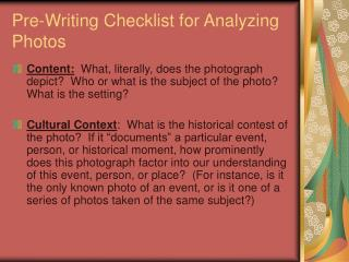 Pre-Writing Checklist for Analyzing Photos