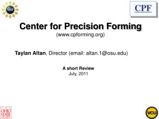 Center for Precision Forming cpforming