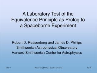 A Laboratory Test of the  Equivalence Principle as Prolog to  a Spaceborne Experiment