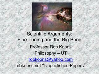 Scientific Arguments: Fine-Tuning and the Big Bang