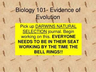 Biology  101- Evidence of Evolution