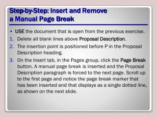 Step-by-Step:  Insert  and  Remove  a  Manual Page Break
