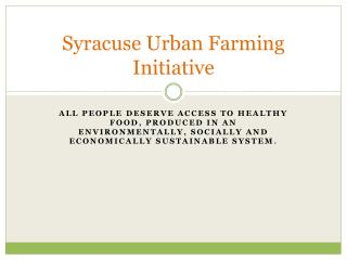 Syracuse Urban Farming Initiative