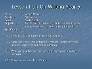 Lesson Plan On Writing Year 6