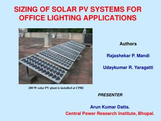 SIZING OF SOLAR PV SYSTEMS FOR OFFICE LIGHTING APPLICATIONS