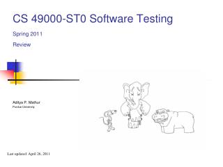 CS 49000-ST0 Software Testing Spring 2011 Review