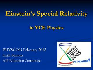 Einstein's Special Relativity in VCE Physics