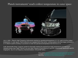Planck instruments ' reach coldest temperature in outer space