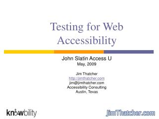 Testing for Web Accessibility