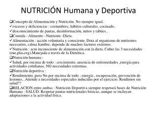 NUTRICIÓN Humana y  Deportiva