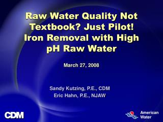 Raw Water Quality Not Textbook? Just Pilot! Iron Removal with High pH Raw Water March 27, 2008