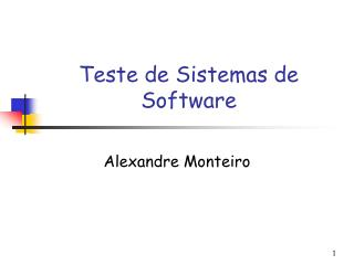 Teste de Sistemas de Software