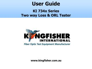 User Guide  KI 734x Series  Two way Loss & ORL Tester