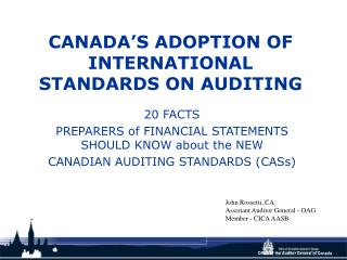 CANADA S ADOPTION OF INTERNATIONAL STANDARDS ON AUDITING