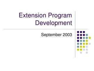 Extension Program Development